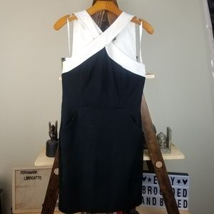 Donna Karan | Black White Criss Cross Sheath Dress